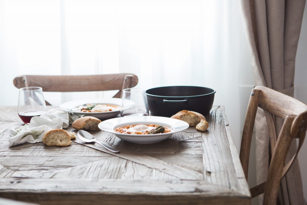 Rustic food, table and chairs